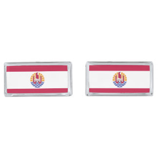 French Polenysia flag Silver Finish Cuff Links