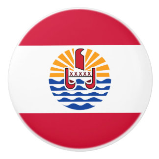 French Polynesia Flag Ceramic Knob