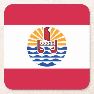 French Polynesia Flag Square Paper Coaster