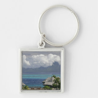 French Polynesia, Moorea. A view of the island Silver-Colored Square Key Ring