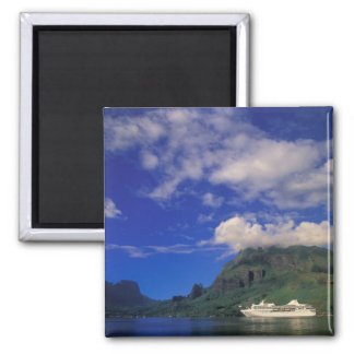 French Polynesia, Moorea. Cooks Bay. Cruise ship 3 Square Magnet