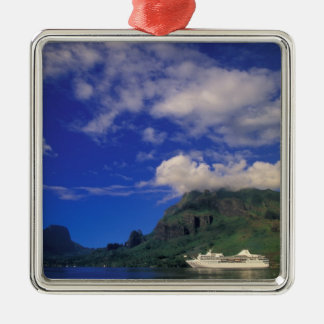 French Polynesia, Moorea. Cooks Bay. Cruise ship 3 Metal Ornament