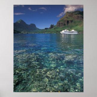 French Polynesia, Moorea. Cooks Bay. Cruise ship Poster
