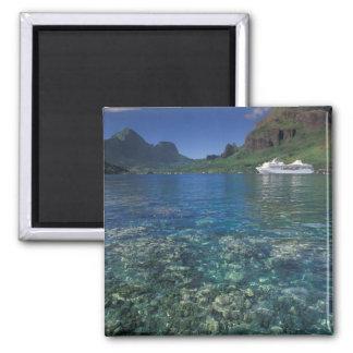 French Polynesia, Moorea. Cooks Bay. Cruise ship Square Magnet