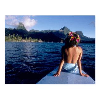 French Polynesia, Moorea. Woman enjoying view on Postcard