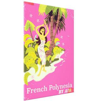 French Polynesia vintage travel poster Canvas Print