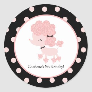 French Poodle Favor Sticker