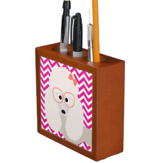 French Poodle Hot Pink and White Chevron Pattern Desk Organisers