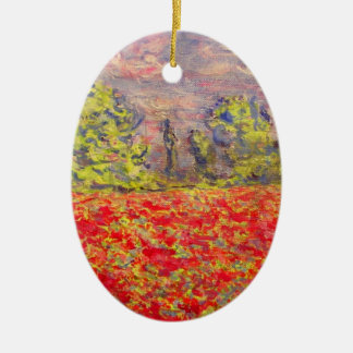 french poppy field art ceramic oval decoration