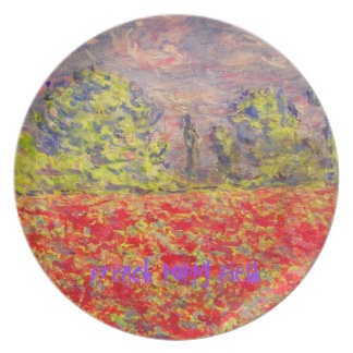 french poppy field art dinner plates