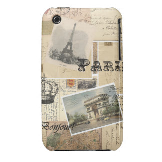 French Postcard Collage iPhone 3 Case-Mate Case
