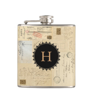 French Postcard Collage Monogram Flask
