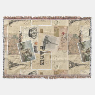 French Postcard Collage Throw Blanket