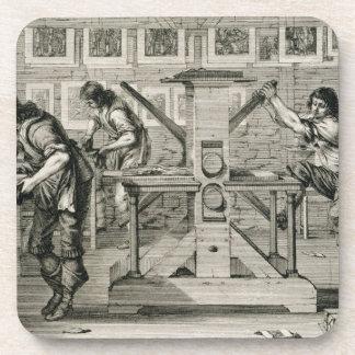 French printing press, 1642 (engraving) coasters