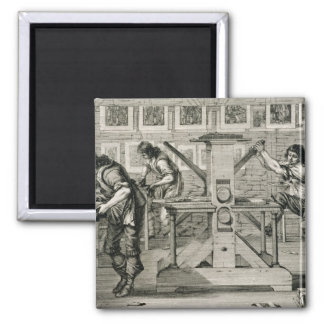 French printing press, 1642 (engraving) square magnet
