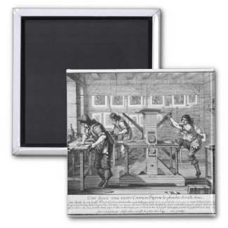 French printing press, 1642 square magnet
