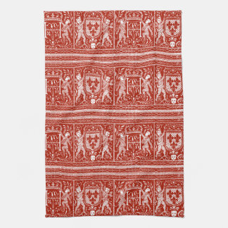 French Red and White Medieval Pattern Monogram H Tea Towel