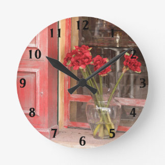 French Red Flower Round Clock