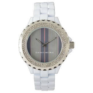 French Red White Blue Stripes Ticking Watch