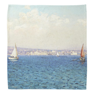 French Riviera Coast Ocean Sailboats Bandana