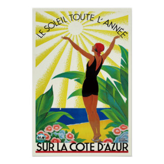 French Riviera Cote D'Azur Vintage Travel Poster