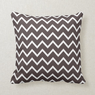 French Roast Brown Chevron Pillow