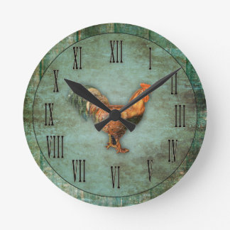 French Rooster and Faux Wood Wall Clock