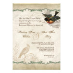 French Roses Love Birds Swirl Vintage Lace - Aqua Personalized Announcement