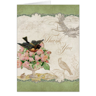 French Roses Love Birds Vintage Lace - Sage Green Note Card