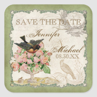 French Roses Love Birds Vintage Lace - Sage Green Square Sticker