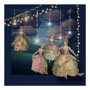 French Royals Dancing Under the Twinkling Lights Poster
