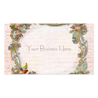 French Script Writing and Scrolls on Pink Pack Of Standard Business Cards