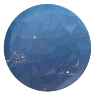 French Sky Blue Abstract Low Polygon Background Dinner Plate
