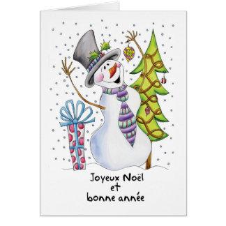 French - Snowman - Happy Snowman - Joyeux Noël Card