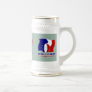 French Soccer Ball and Flag Beer Stein