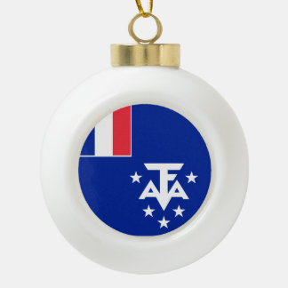 French Southern and Antarctic Lands Flag Ceramic Ball Decoration