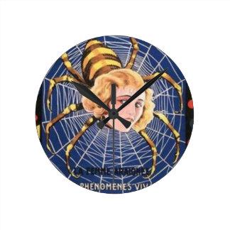 French Spider Girl Round Clock