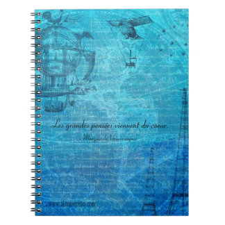 French Steampunk Spiral-Ring Notebook