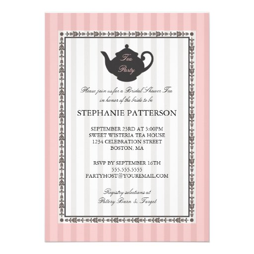 French Stripe Chic Bridal Shower Tea Party Custom Invites