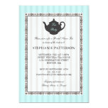 French Stripe Chic Bridal Shower Tea Party Custom Invitation