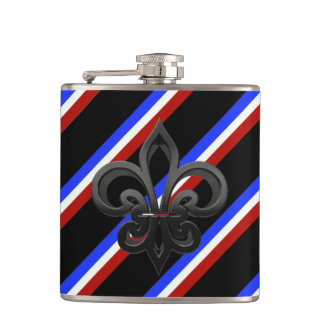 French stripes flag hip flask