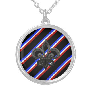 French stripes flag silver plated necklace