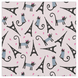 French Style Dressed Cat With Eiffel Tower Pattern Fabric