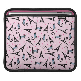 French Style Dressed Cat With Eiffel Tower Pattern iPad Sleeve