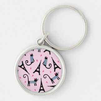 French Style Dressed Cat With Eiffel Tower Pattern Silver-Colored Round Key Ring