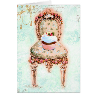 French Tea Party Cupcake Design Greeting Card