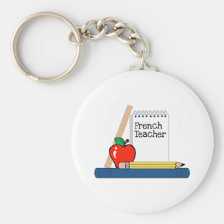 French Teacher (Notebook) Basic Round Button Key Ring