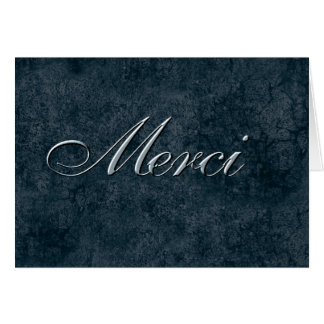 French Thank You - Merci in Blue Card