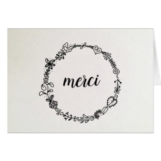 French Thank You Wreath Note Card, Merci Card