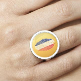 French touch fingerprint flag ring